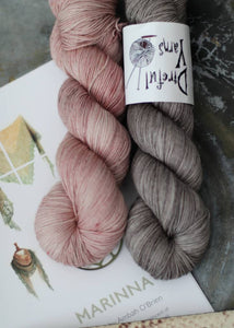 Marinna Shawl Kit - Gray & Mauve {Slasher Sock} 75/25 SW Merino/Nylon Fingering Weight