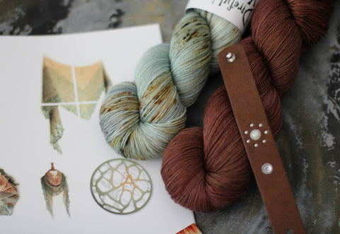 Marinna Shawl Kit - Green & Brown {Slasher Sock} 75/25 SW Merino/Nylon Fingering Weight