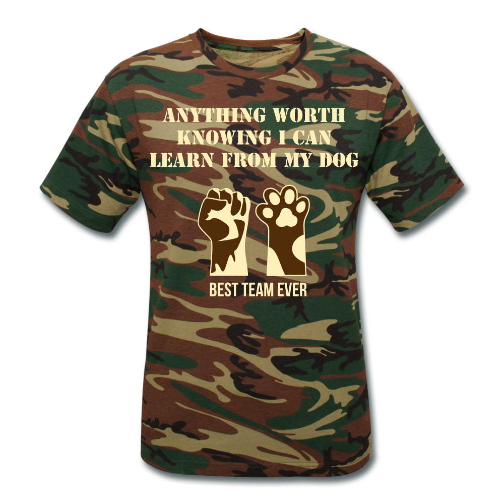 Anything Worth Knowing, I Can Learn From My Dog - Unisex Camouflage T-Shirt - Fur Baby Whims