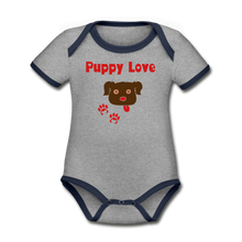Load image into Gallery viewer, Puppy Love - Organic Contrast Short Sleeve Baby Bodysuit - Fur Baby Whims