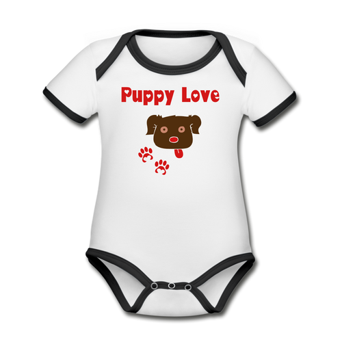 Puppy Love - Organic Contrast Short Sleeve Baby Bodysuit - Fur Baby Whims