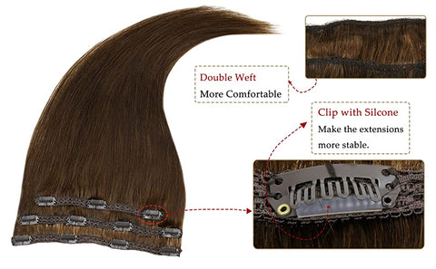 Chocolate Brown 50g 3 Pieces Brown Clip Hair Extensions