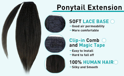 ponytail hair extensions kinky Straight
