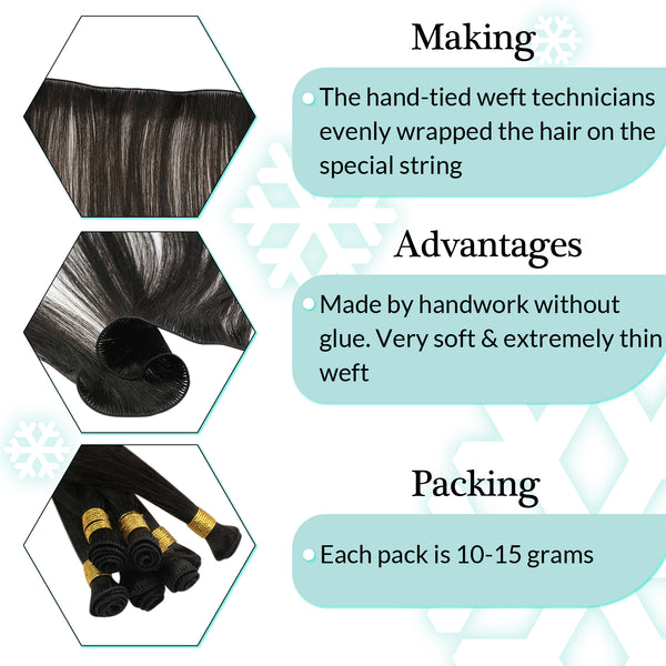 Details of Hand Tied Hair Weft