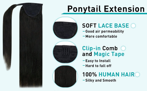 off black human hair extensions ponytail