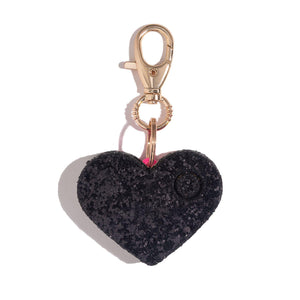 Personal Safety Alarm for Women | Black Glitter Heart Keychain - blingsting.com