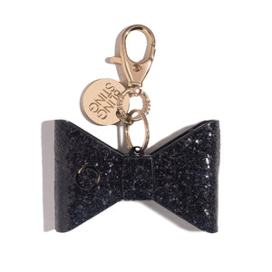 Ahh!-larm | Black Glitter Bow - blingsting.com
