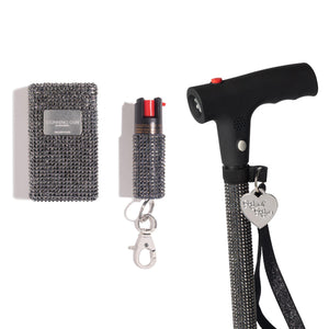 Stun Gun + Pepper Spray + Kandi Kane | Mink Rhinestones - shop and save with free shipping and free gifts with purchase only at blingsting.com
