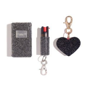 Show Stopper | Stun Gun + Gold Pepper Spray + Black Heart Alarm - shop and save with free shipping and free gifts with purchase only at blingsting.com