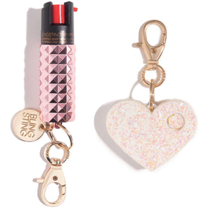 Self Defense Keychain Set Maximum Strength Pepper Spray & Safety Alarm - shop and save with free shipping and free gifts with purchase only at blingsting.com