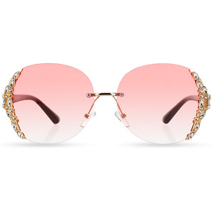 Hot Rimless Gradient Fashion Sunglasses Large Frame With Rhinestone
