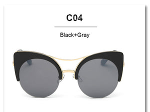 Stylish Round Oversized Cat Eye Classic Mirror Sunglasses