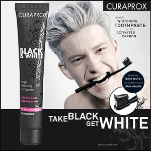 CURAPROX Black Is White CHARCOAL WHITENING toothpaste 90ml crest toothpaste
