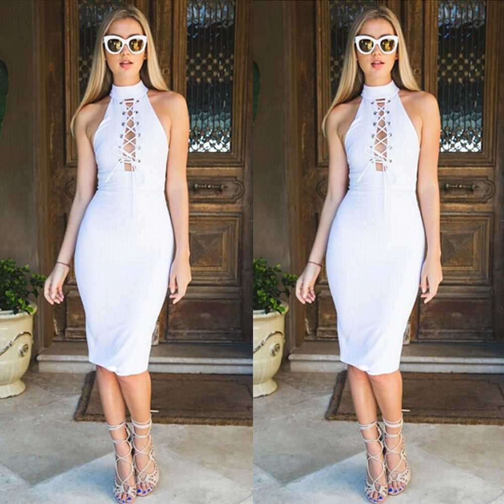 Celeb style sexy lace up party dress
