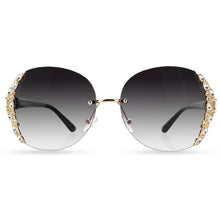 Hot Rimless Gradient Fashion Sunglasses Large Frame With Rhinestone - Celebrity Smile