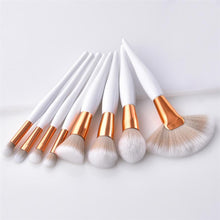 8pcs white gold Makeup Brushes Set - Celebrity Smile