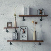Metal Pipe Shelves 90 Degree Pipe Bracket Farmhouse Wooden Shelf Set