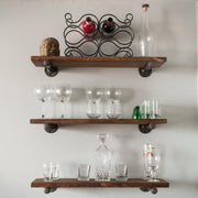 Metal Pipe Shelves Straight Arm Pipe Bracket Farmhouse Wooden Shelf Set