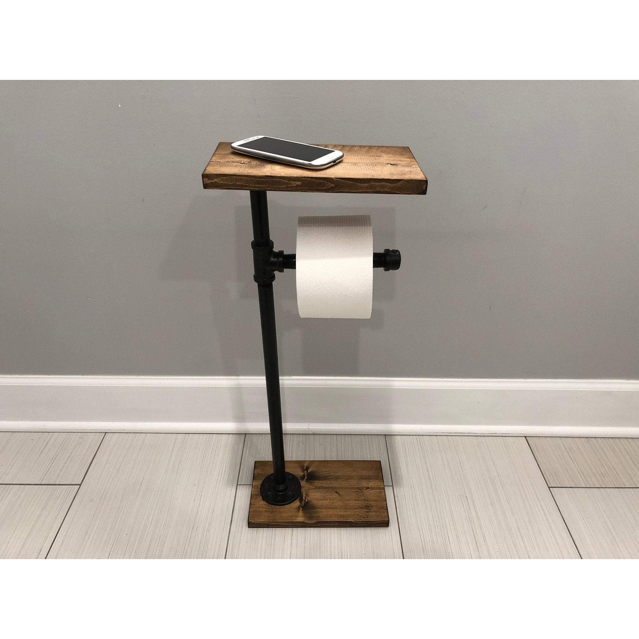 Metal Toilet Paper Holder Standing Toilet Paper Holder with Wooden Shelf