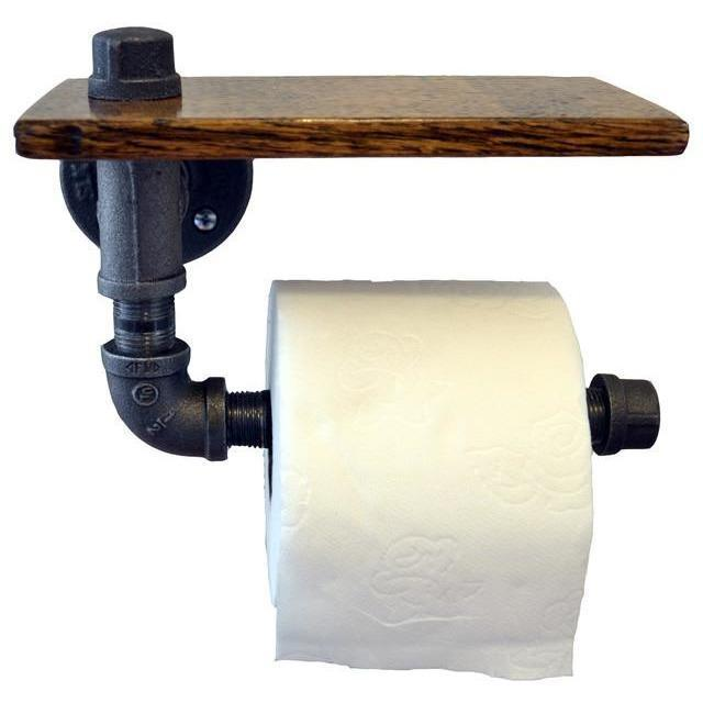 Metal Toilet Paper Holder With Wood Metal Pipe Toilet Paper Holder