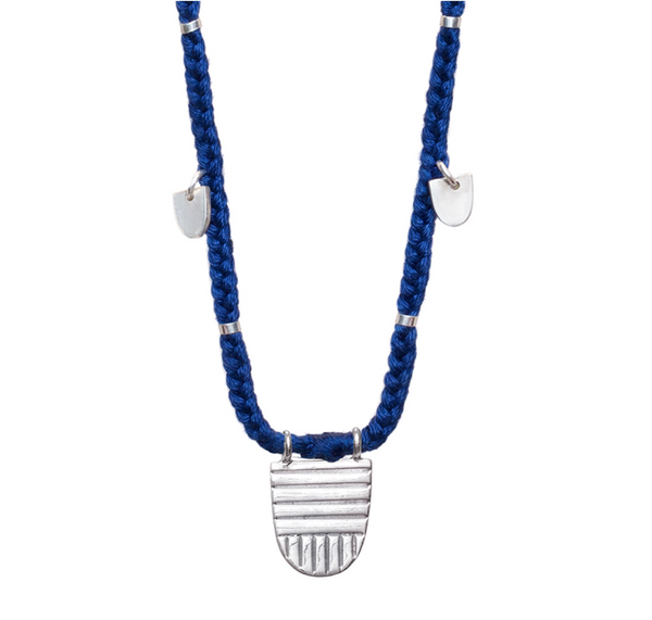 "SILVER BUDDHIST FLAG LAPIS  30"" NECKLACE"