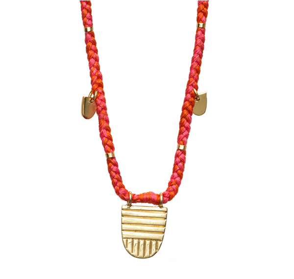 "GOLD BUDDHIST FLAG 30"" SUNSET NECKLACE"