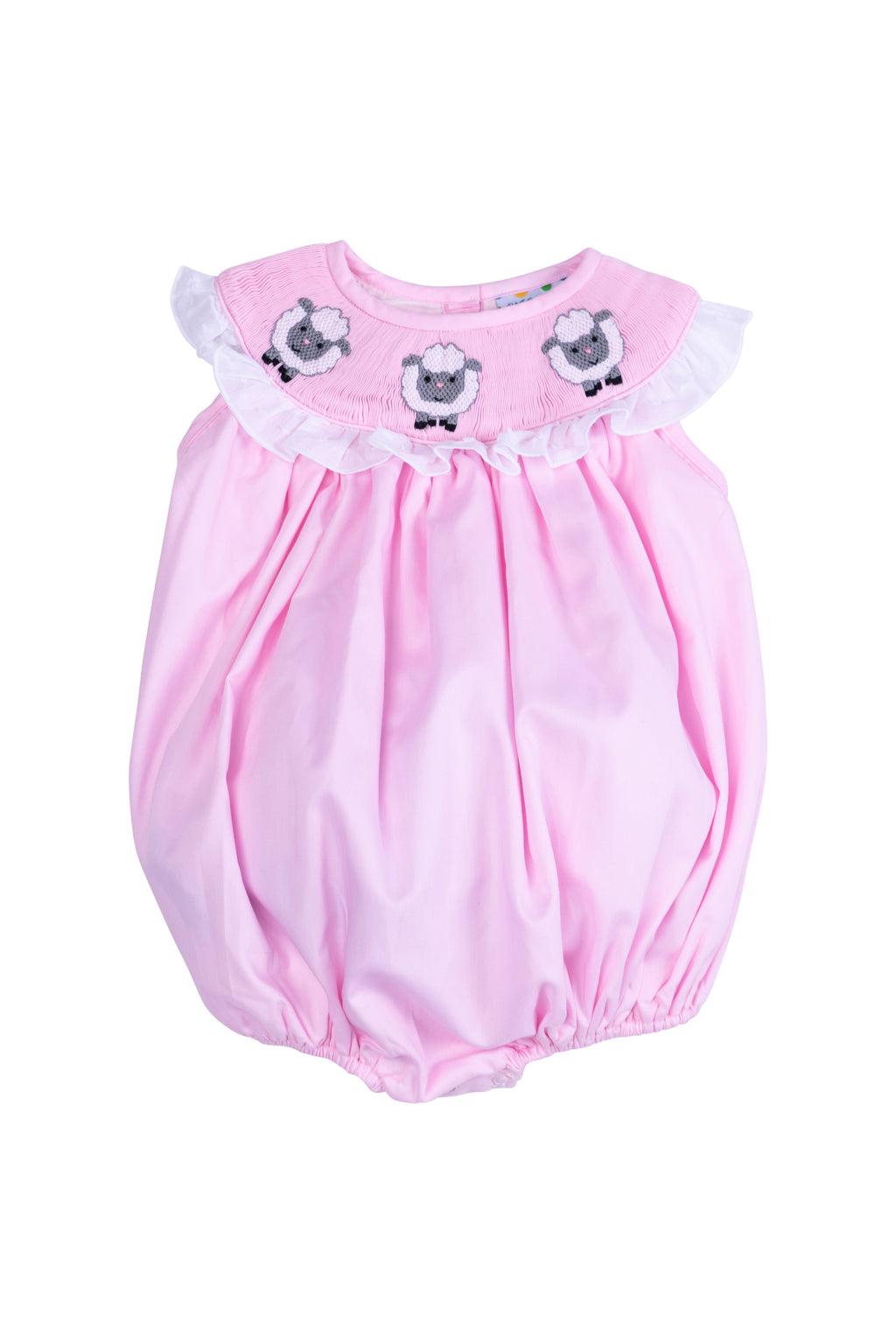 Girls Pink Smocked Lamb Bubble