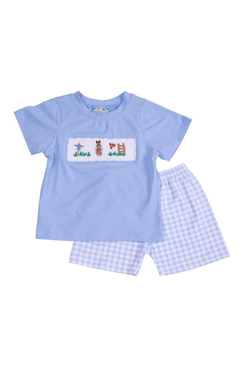 Boys Knit Smocked Rabbit Short Set