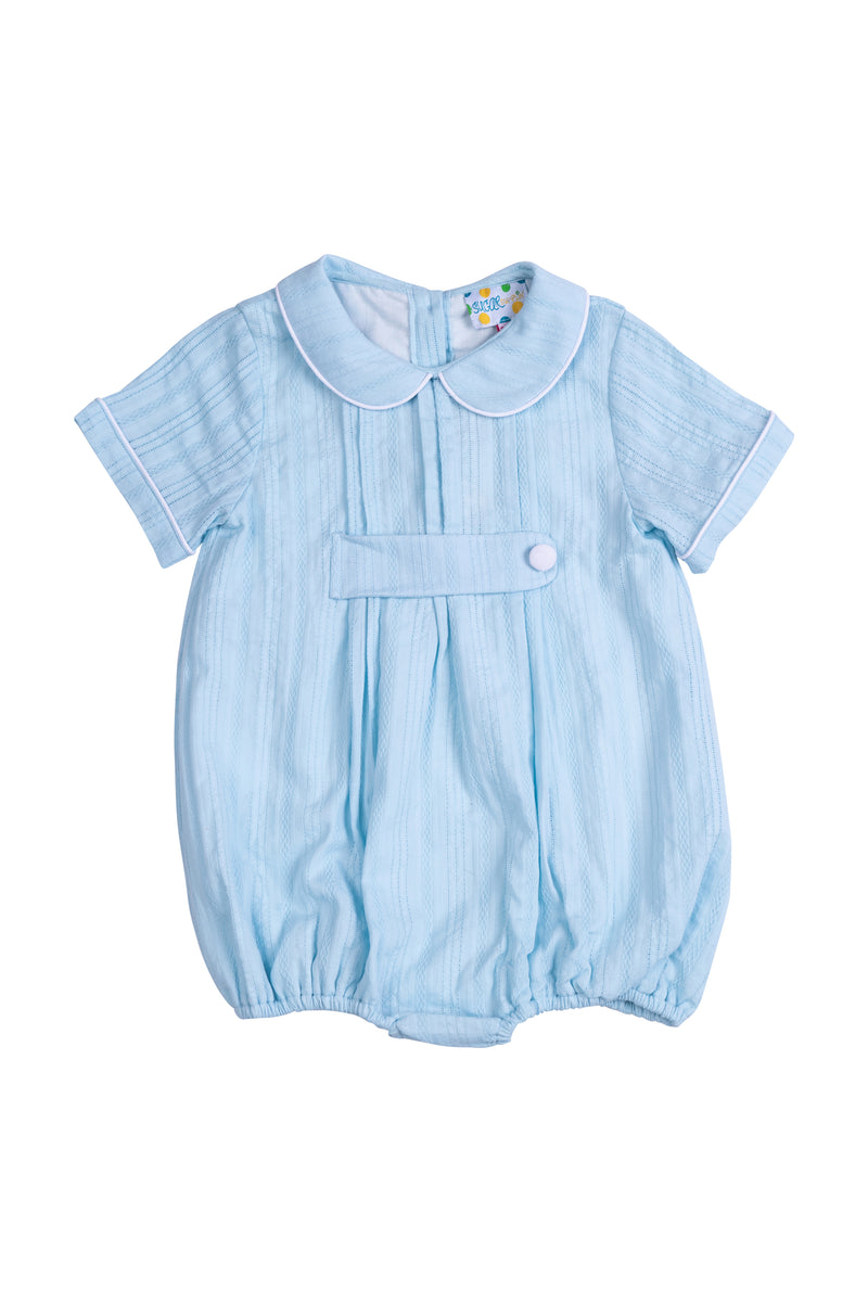 Boys Blue Linen Pleated Bubble