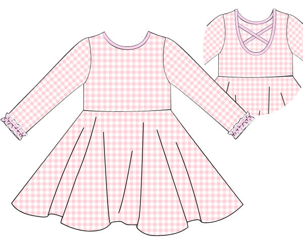 Girls Knit Pink Check Twirl Dress