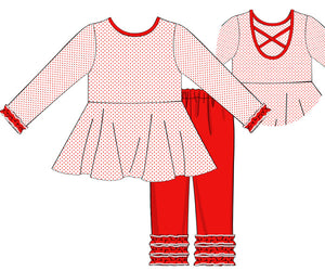 Girls Knit Red Bitty Dot Pant Set