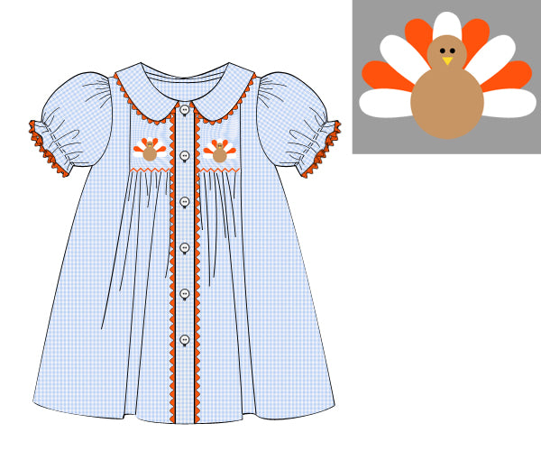 Girls Blue Smocked Turkey Dress