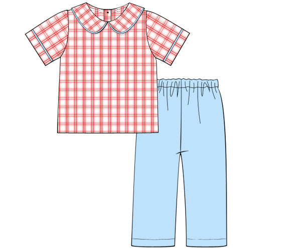 Boys Red Windowpane and Blue Pant Set