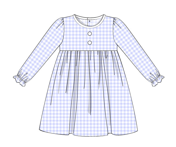 Girl Blue Check Button Dress