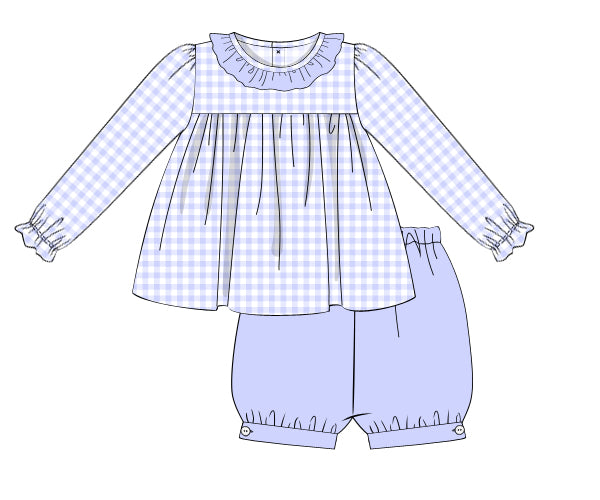 Girls Knit Blue Check Bloomer Set
