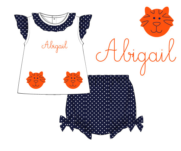 Girls Tiger Applique Diaper Set