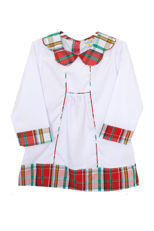 Girls White and Red Plaid Dress