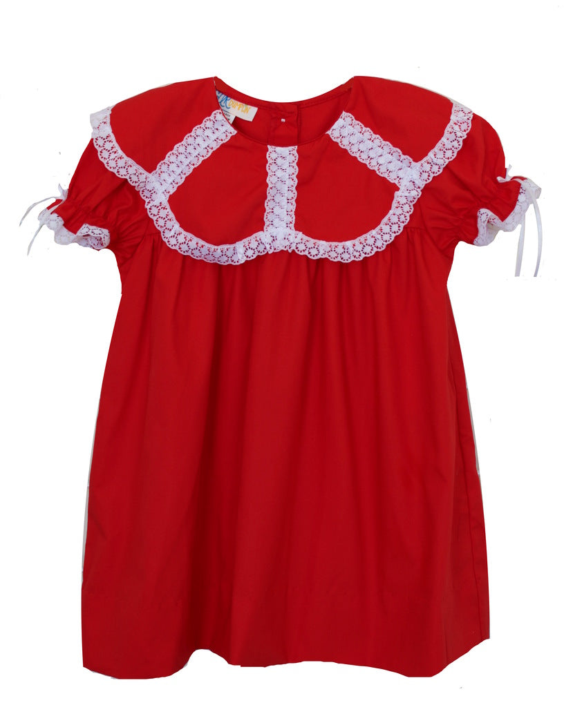 Girls Red Dress with Lace Trim