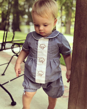 Boys Embroidered Cotton Banded Shorts Set