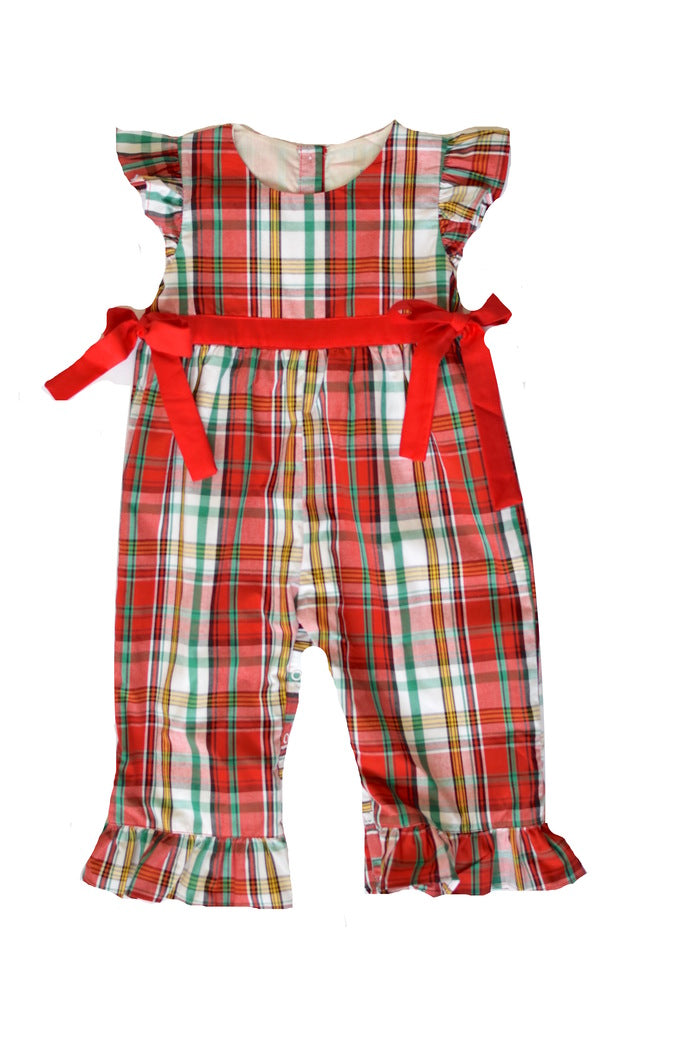 Girls Red Plaid Romper