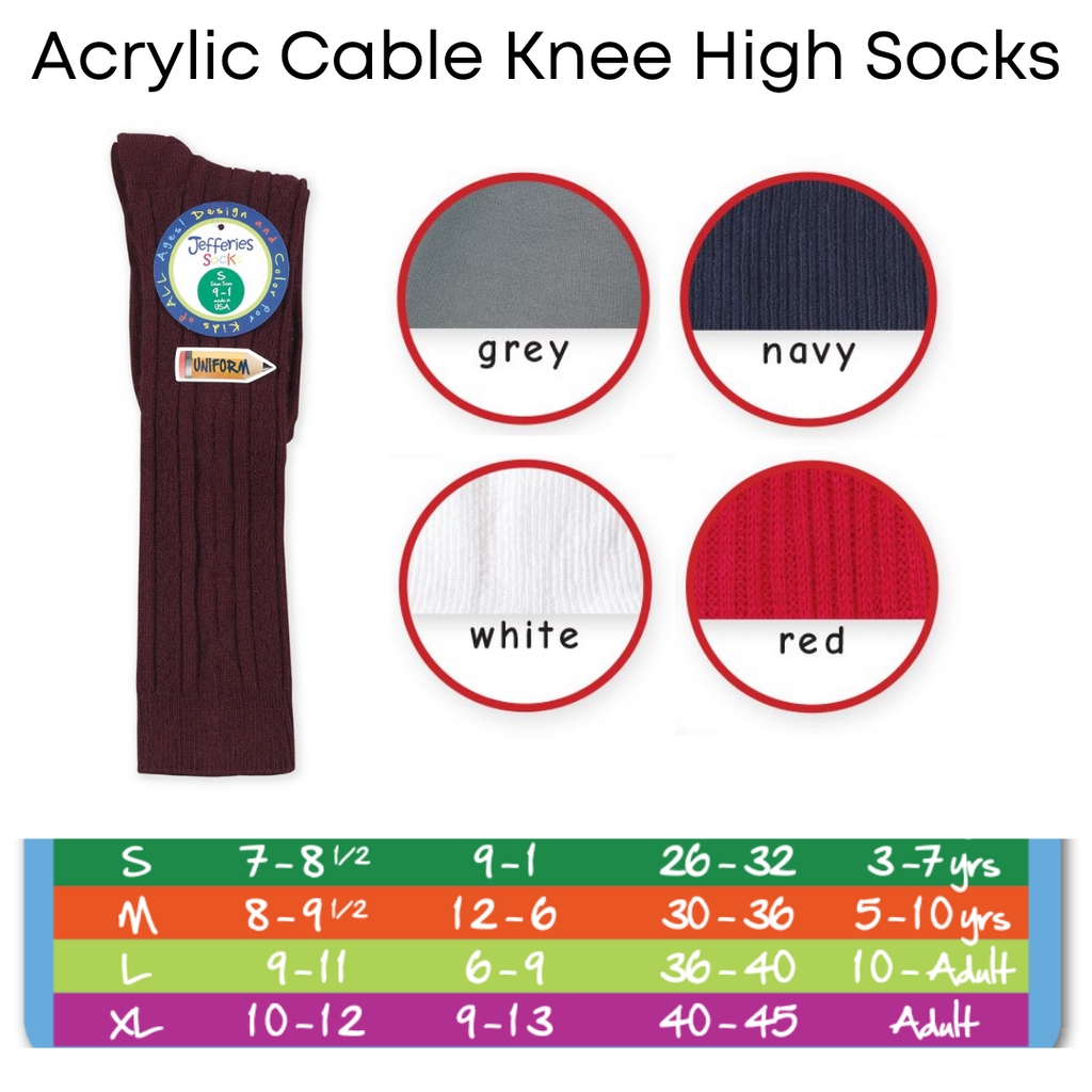 Acrylic Cable Knee High Socks
