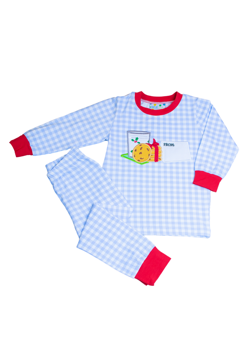 Boys Knit Blue Check Milk & Cookies Pajamas
