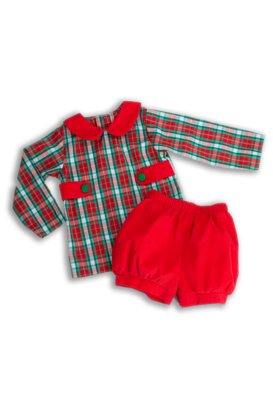 Boys Red and Green Plaid Banded Short Set