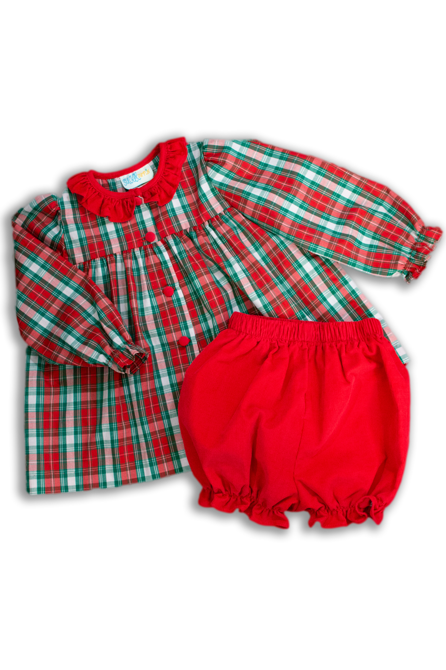 Girls Red and Green Plaid Bloomer Set