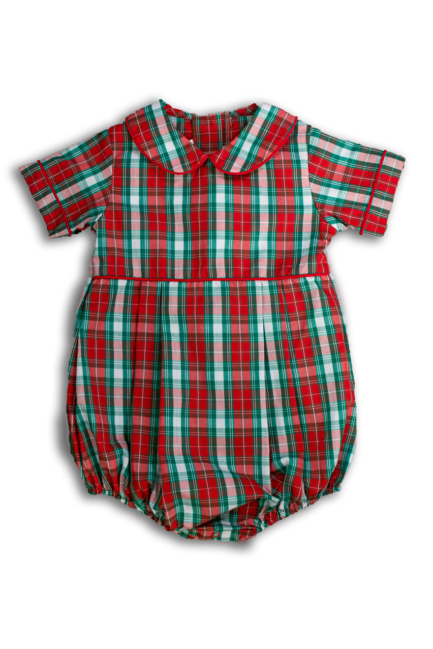 Boys Red and Green Plaid Bubble
