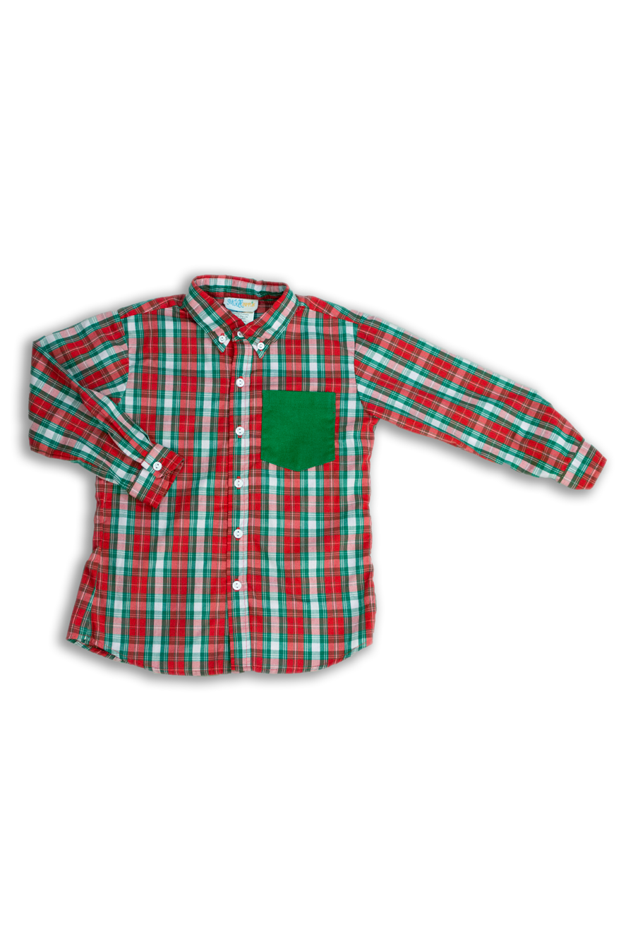 Boys Red and Green Plaid Shirt