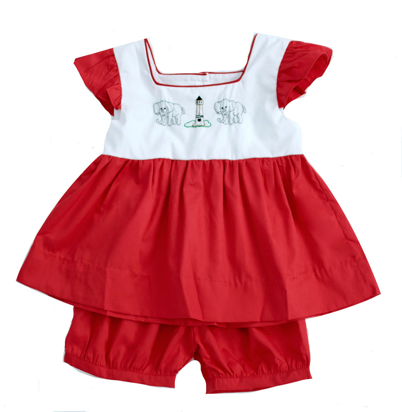 Girls Embroidered Elephant Short Set