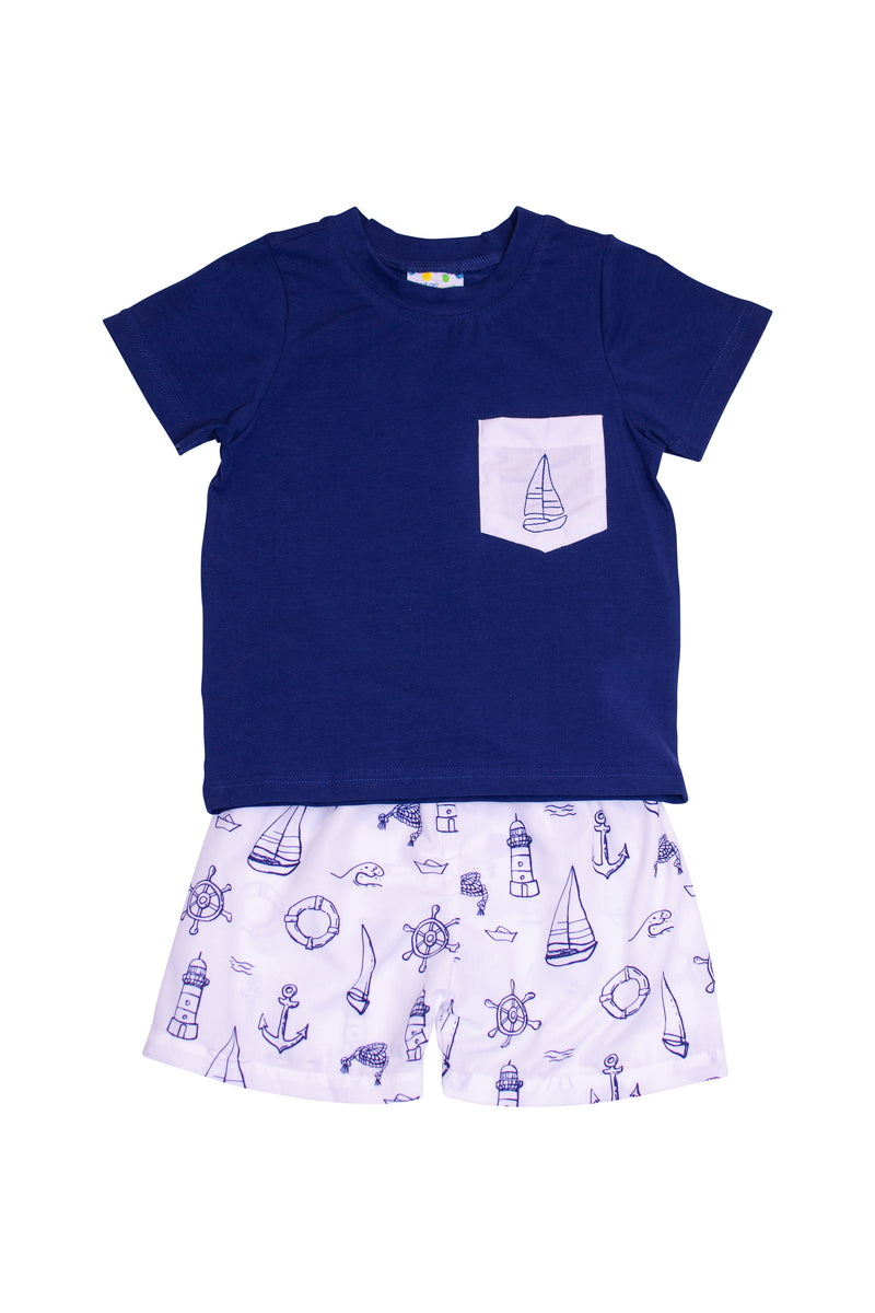 Boys Sailboat Shorts Set