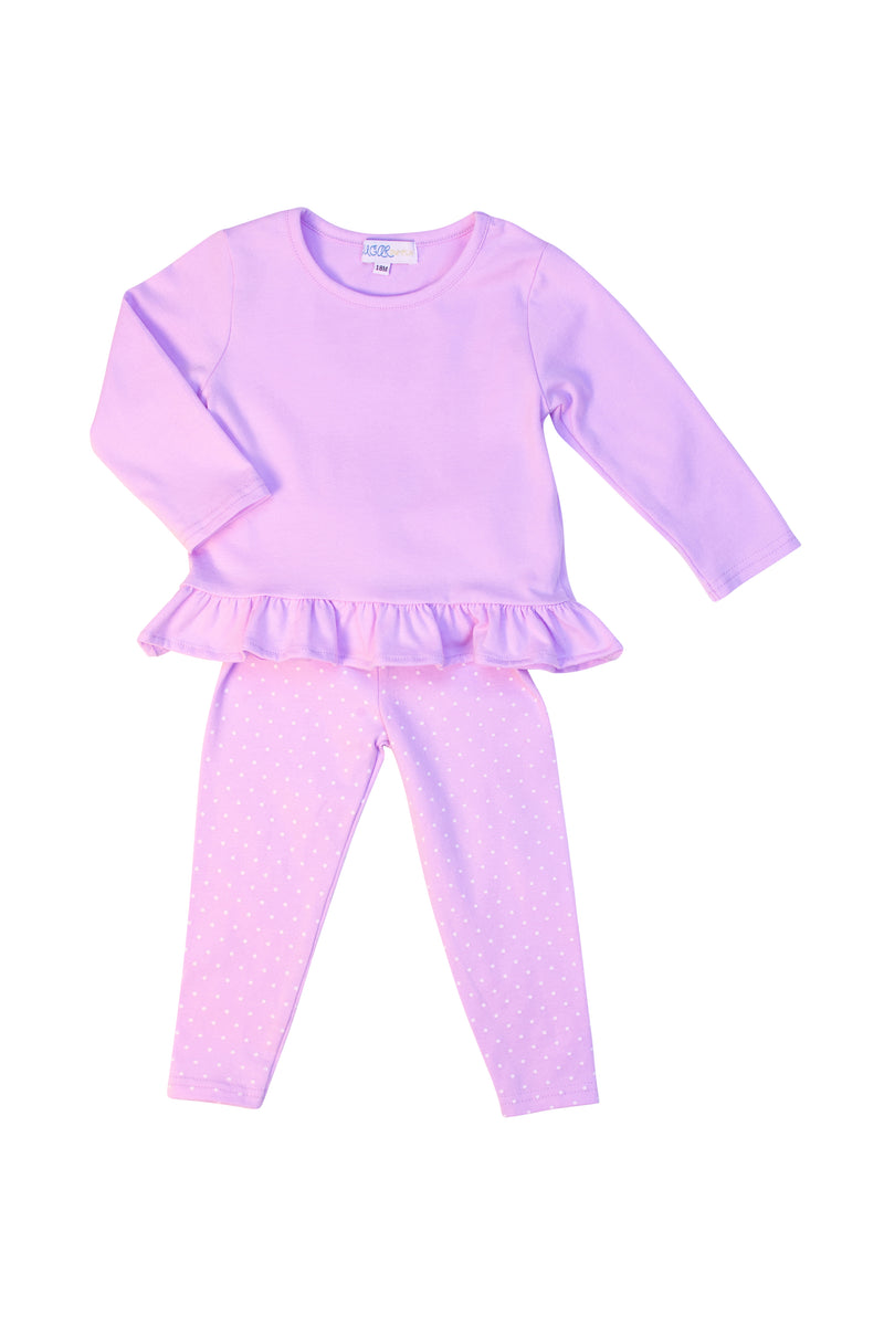 Girls Lavender Knit White Polka Dot Pant Set