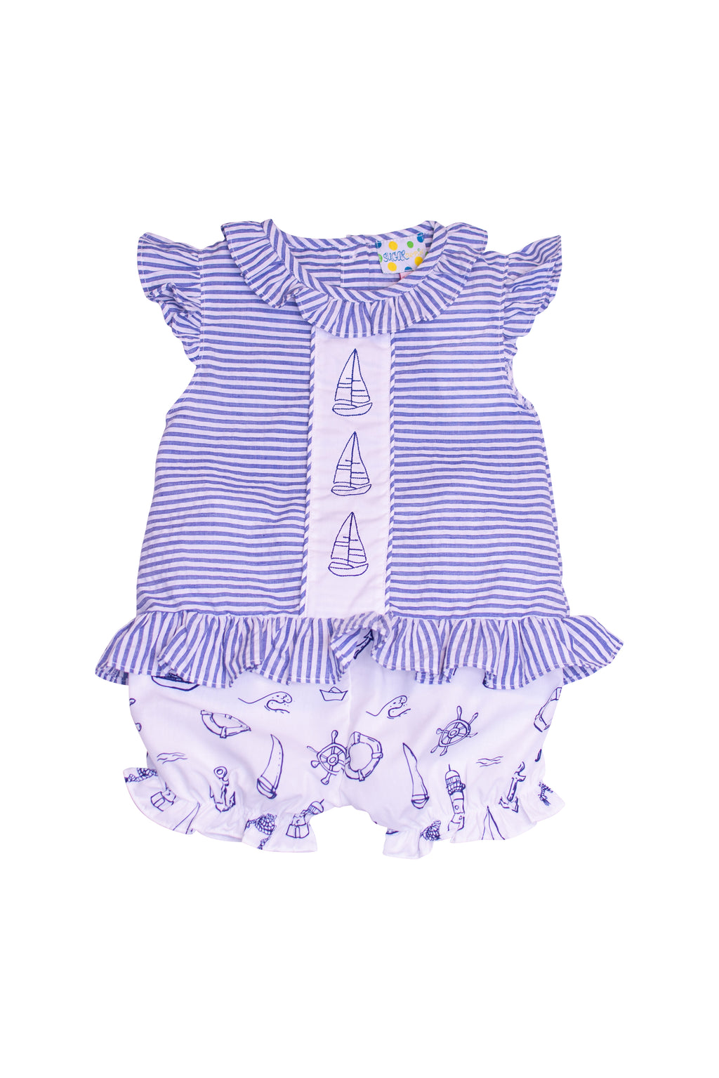 Girls Seersucker/Sailboat Bloomer Set